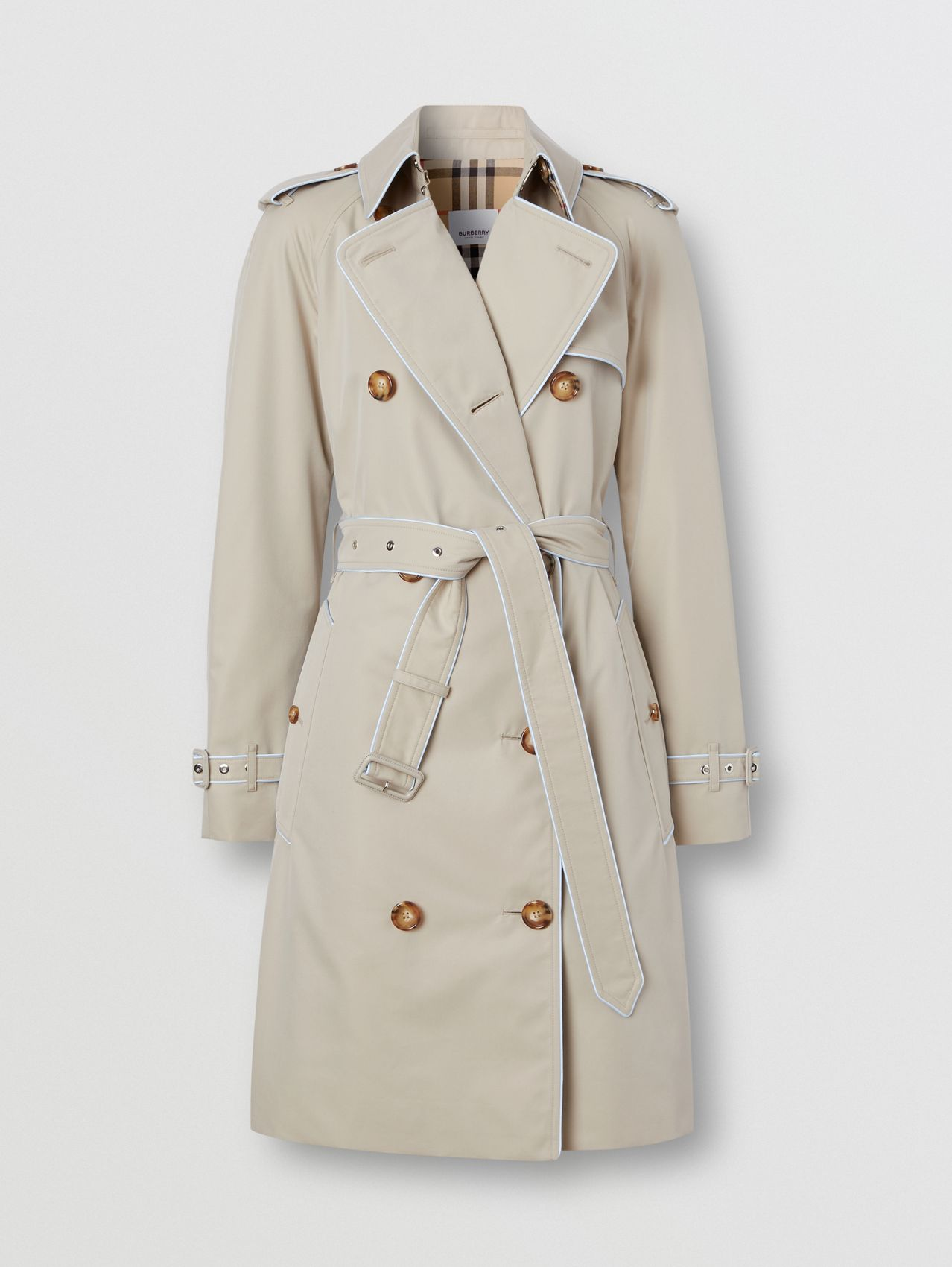Piped Cotton Gabardine Trench Coat in Stone