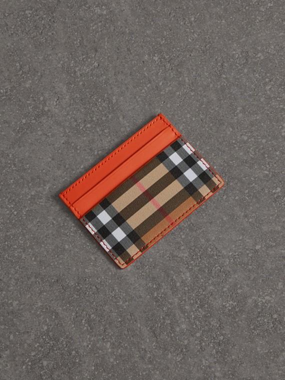 Vintage 格紋拼皮革卡片夾 (柑橘色)