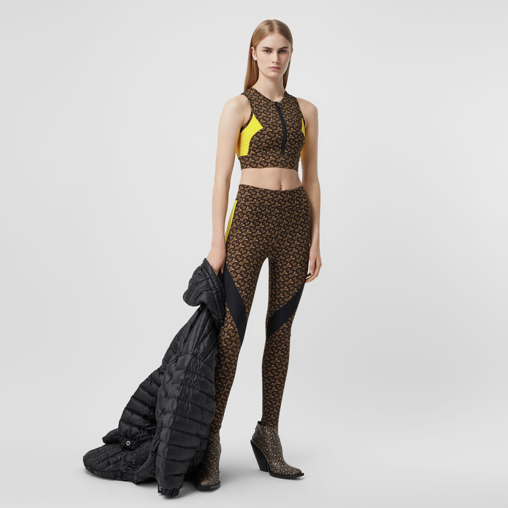 Colour Block Monogram Print Cropped Top in Bridle Brown - Women | Burberry United States - gallery image 0