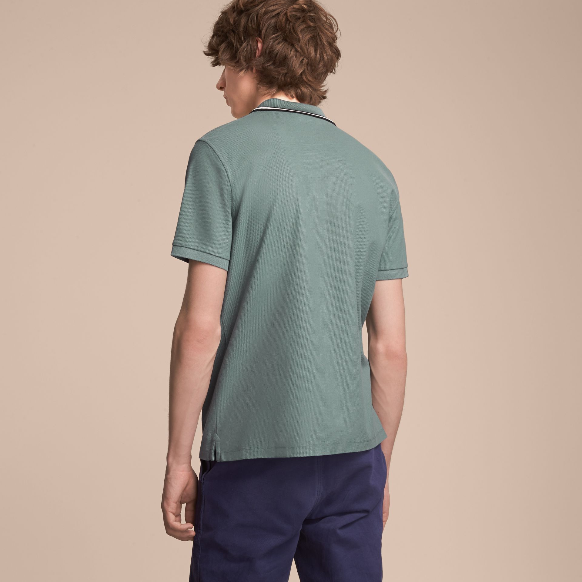 Striped Collar Cotton Piqué Polo Shirt in Pale Teal Blue - gallery image 3
