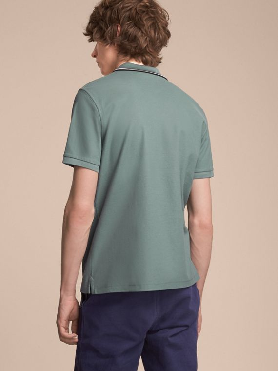 Striped Collar Cotton Piqué Polo Shirt in Pale Teal Blue - cell image 2
