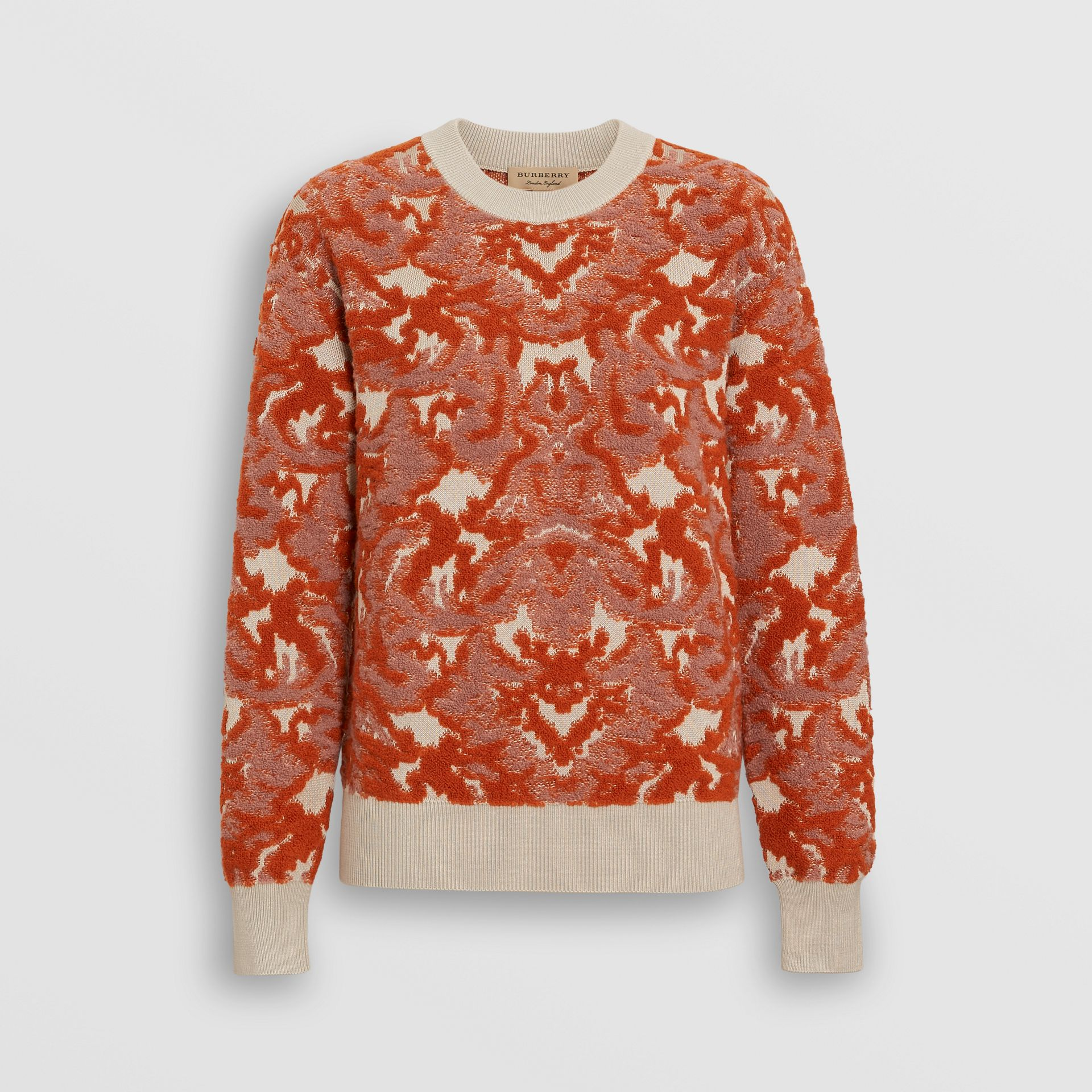 Damask Wool Silk Jacquard Sweater in Pink Azalea - Women | Burberry - gallery image 3