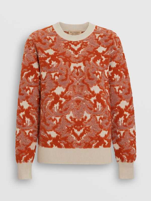 Damask Wool Silk Jacquard Sweater in Pink Azalea - Women | Burberry - cell image 3