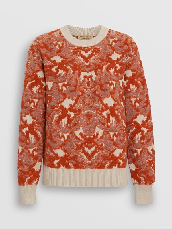 Pull en jacquard de laine et soie damassé (Azalée Rose) - Femme | Burberry Canada - cell image 3