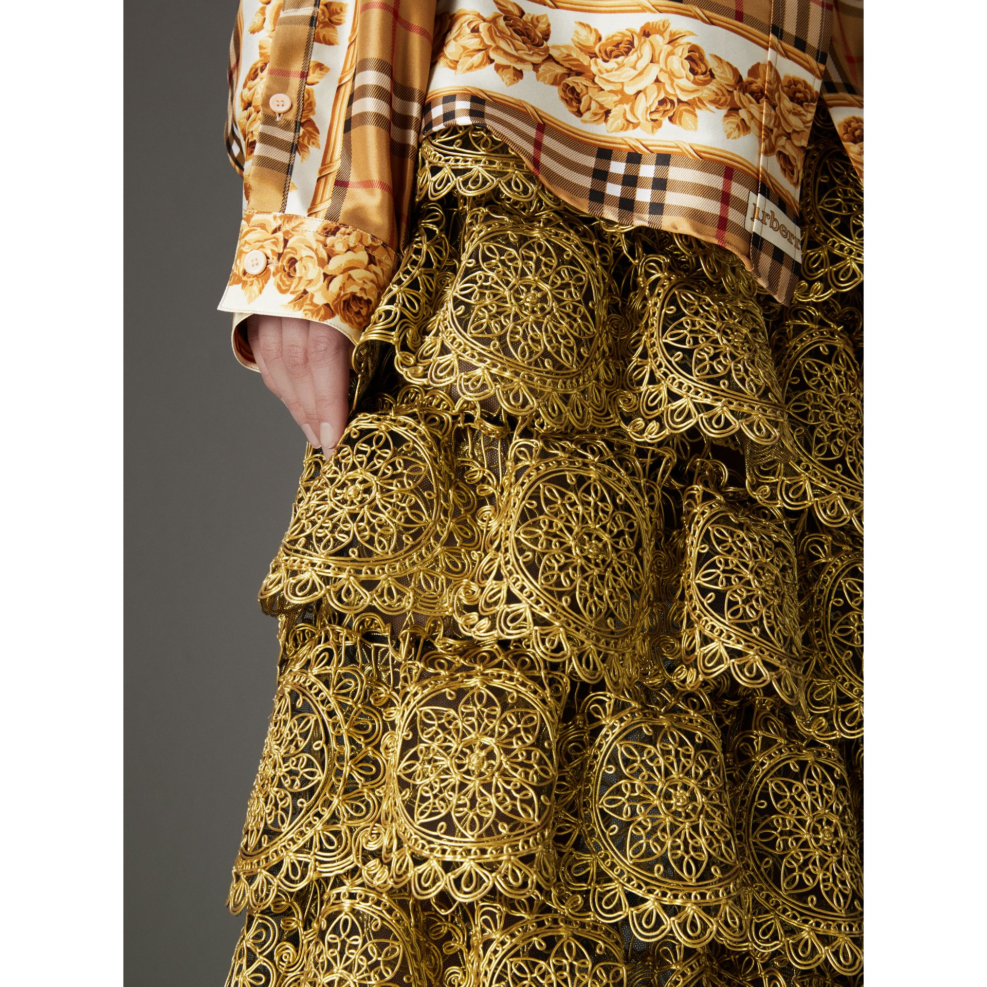 Tiered Silicone Lace Skirt in Gold - Women | Burberry Singapore - gallery image 1
