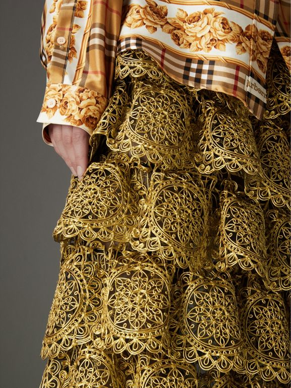 Tiered Silicone Lace Skirt in Gold - Women | Burberry Singapore - cell image 1