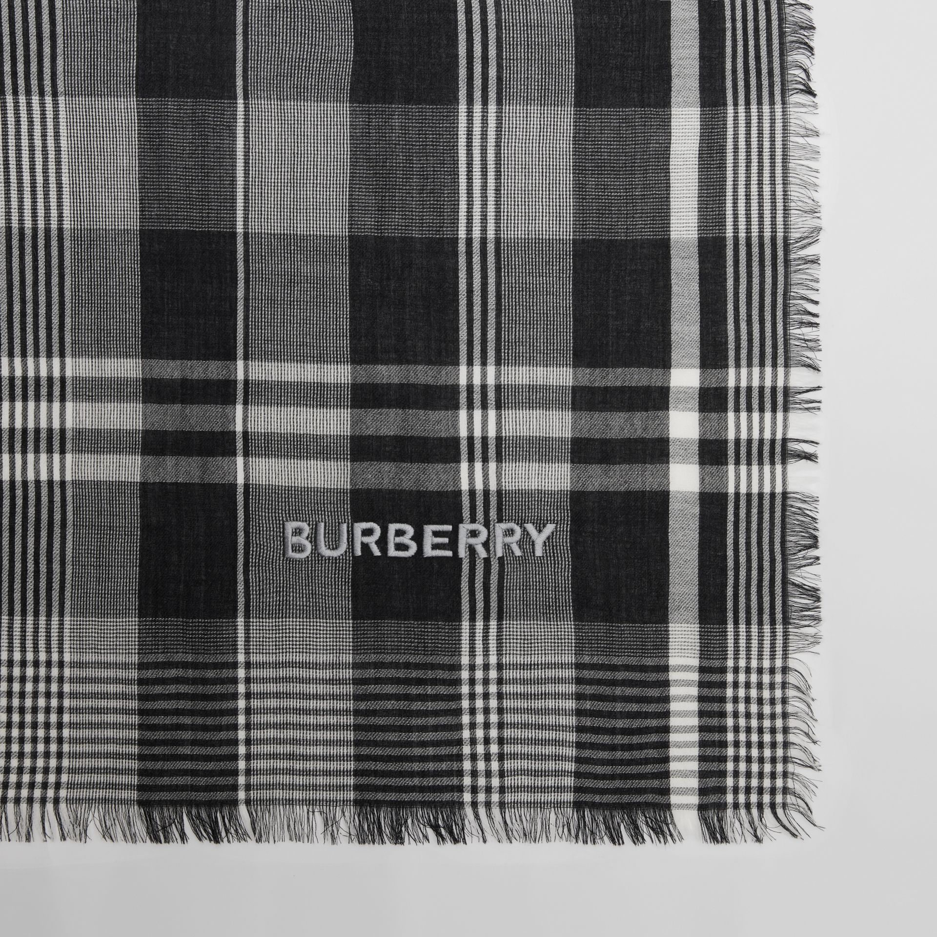 Logo Embroidered Lightweight Check Cashmere Scarf in Black/white | Burberry - gallery image 1