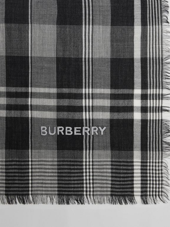 Logo Embroidered Lightweight Check Cashmere Scarf in Black/white | Burberry - cell image 1
