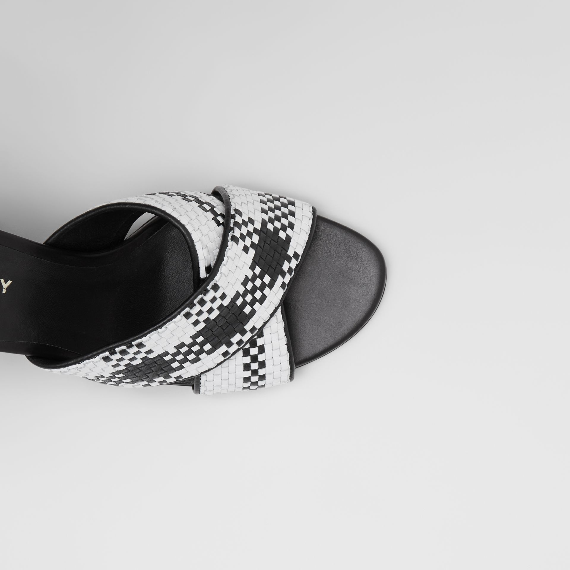 Latticed Leather Block-heel Sandals in Black/white - Women | Burberry Hong Kong S.A.R - gallery image 1