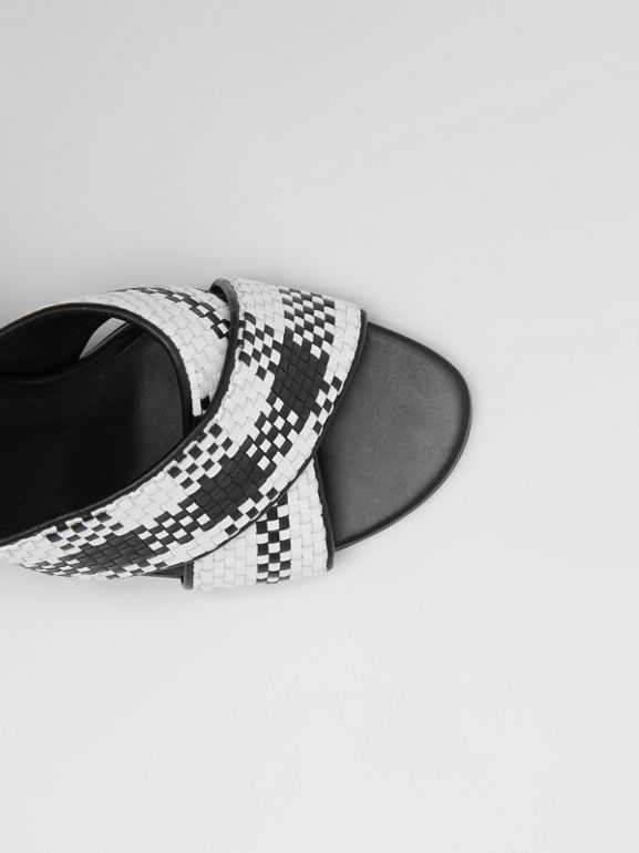 Latticed Leather Block-heel Sandals in Black/white - Women | Burberry - cell image 1