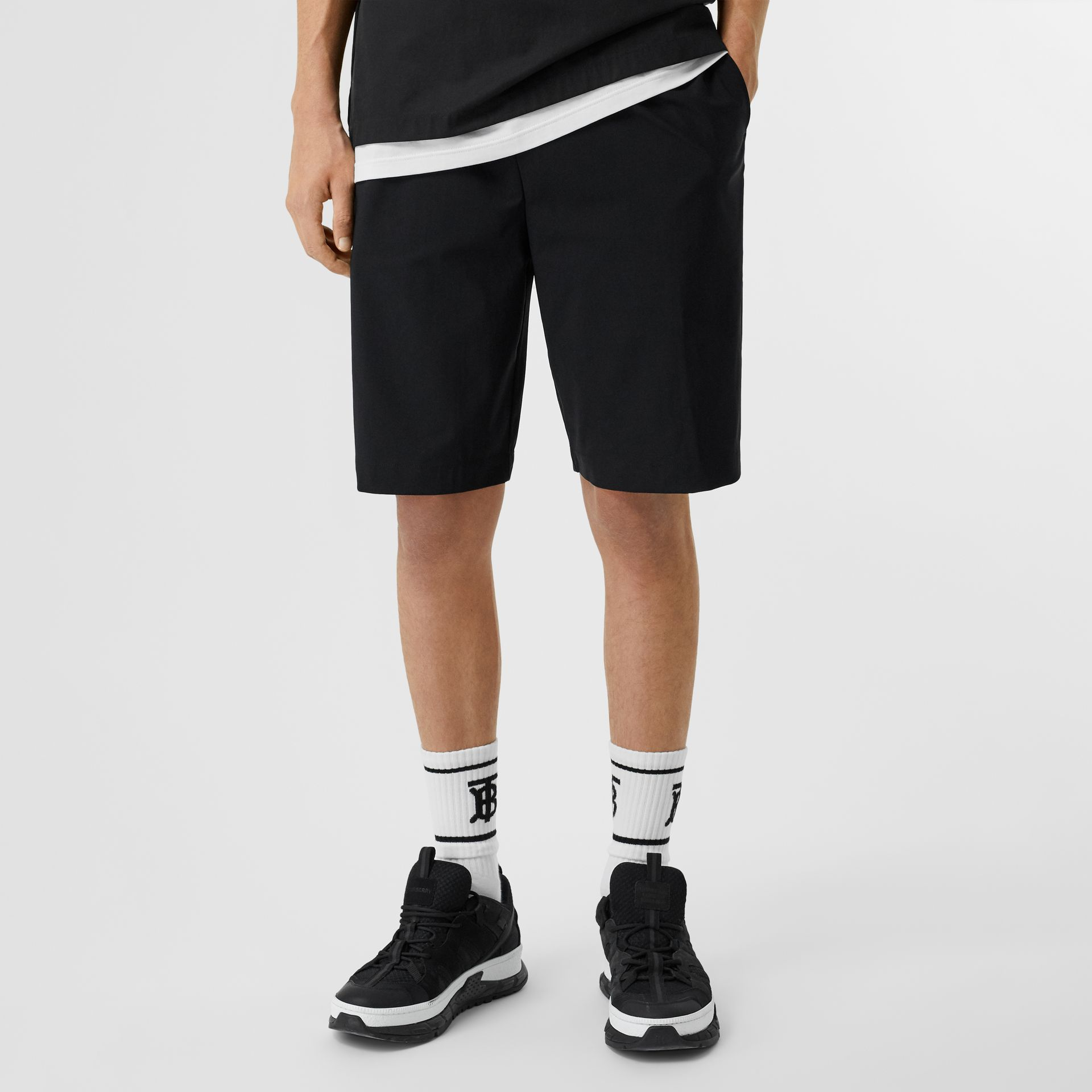 Logo Print Stretch Nylon Shorts in Black - Men | Burberry - gallery image 4