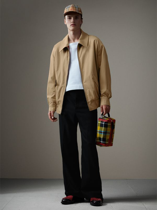 Tartan Cotton Pouch in Ochre Yellow | Burberry Australia - cell image 3