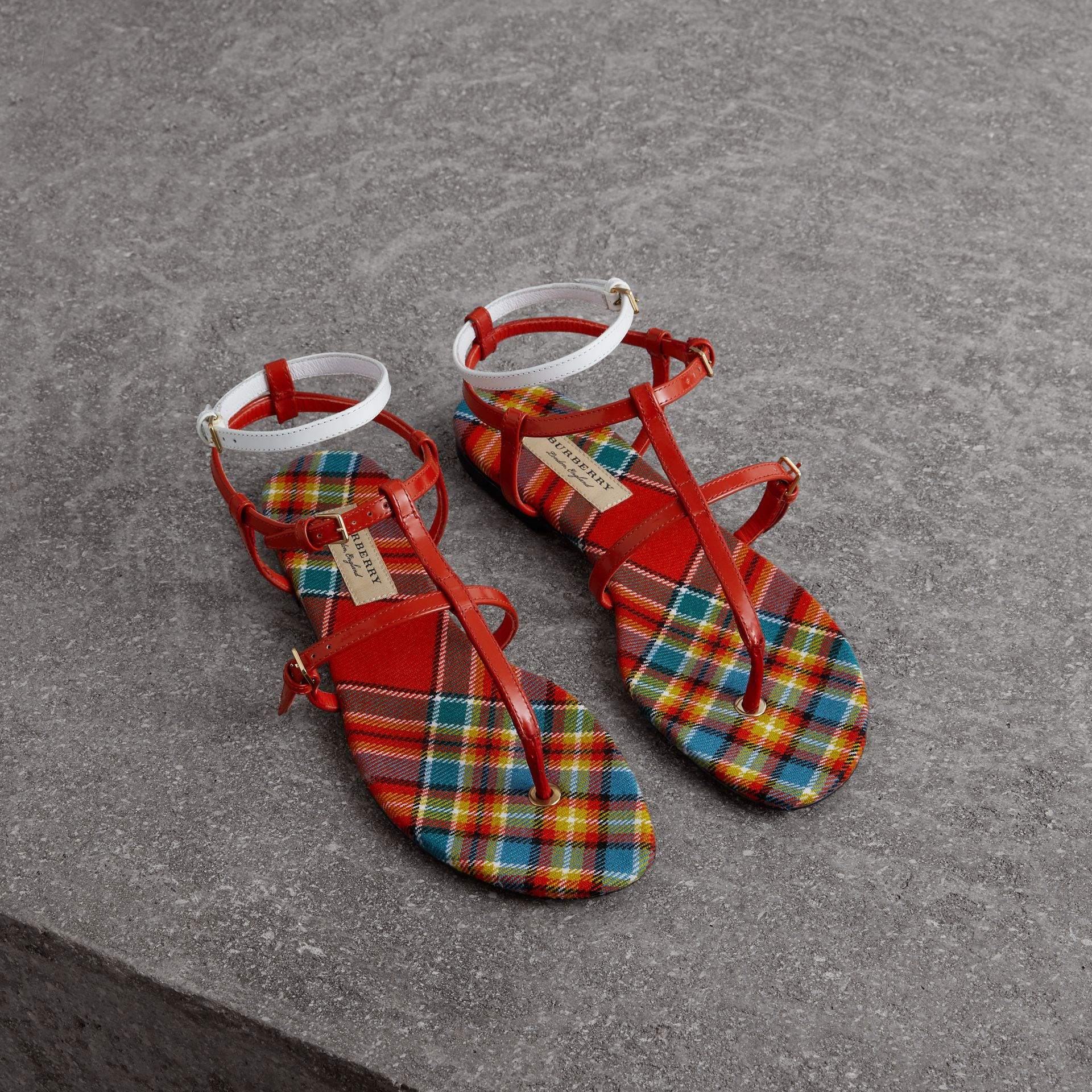 Vintage Check and Leather Sandals in Orange Red - Women | Burberry - gallery image 0