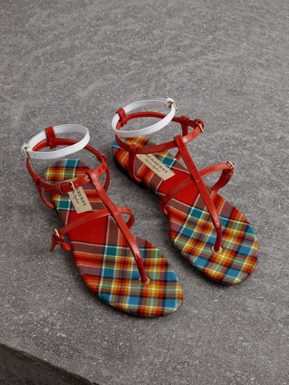 Vintage Check and Leather Sandals in Orange Red