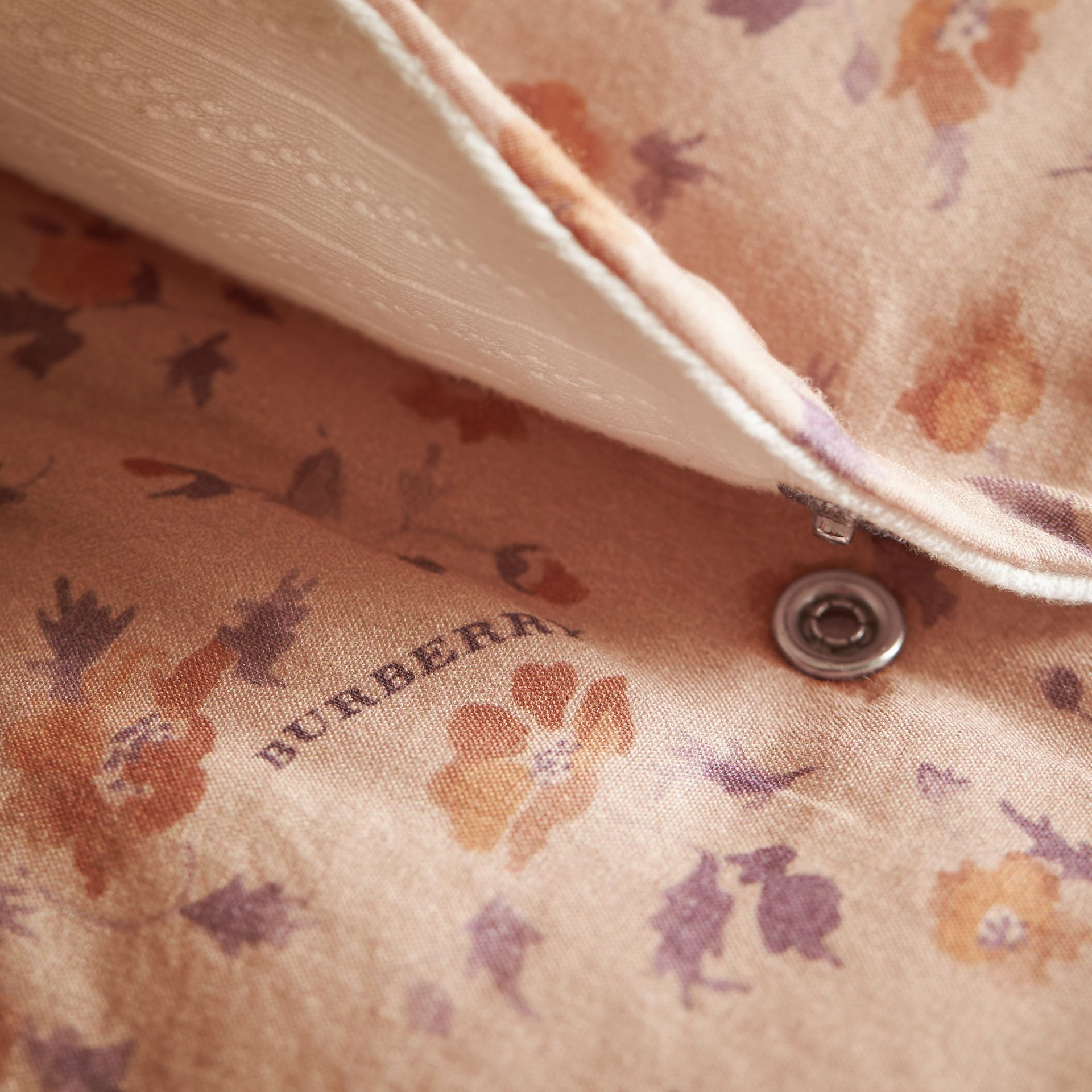 Floral Print Padded Cotton Playsuit in Light Copper | Burberry United Kingdom - gallery image 1
