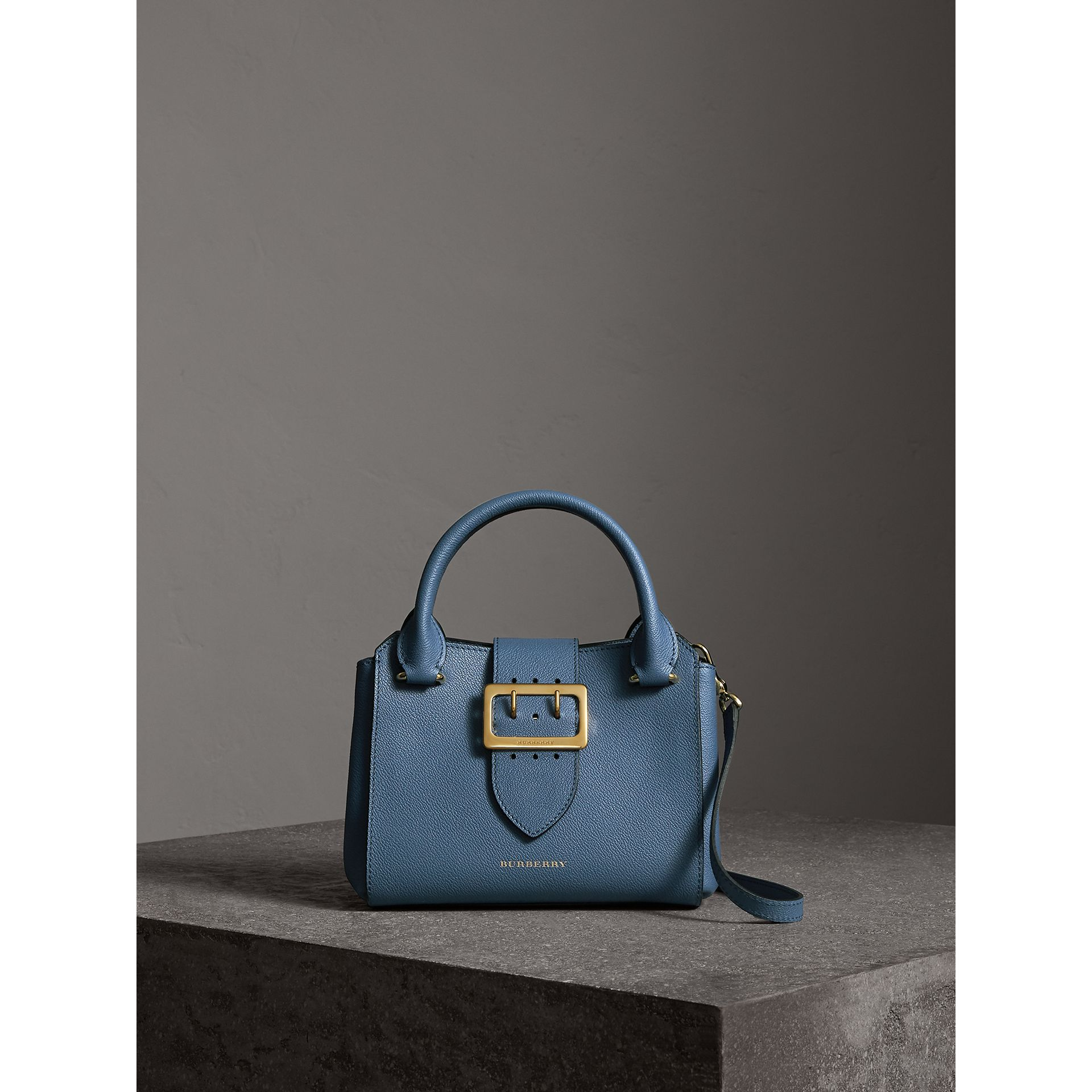 The Small Buckle Tote in Grainy Leather in Steel Blue - Women | Burberry - gallery image 1