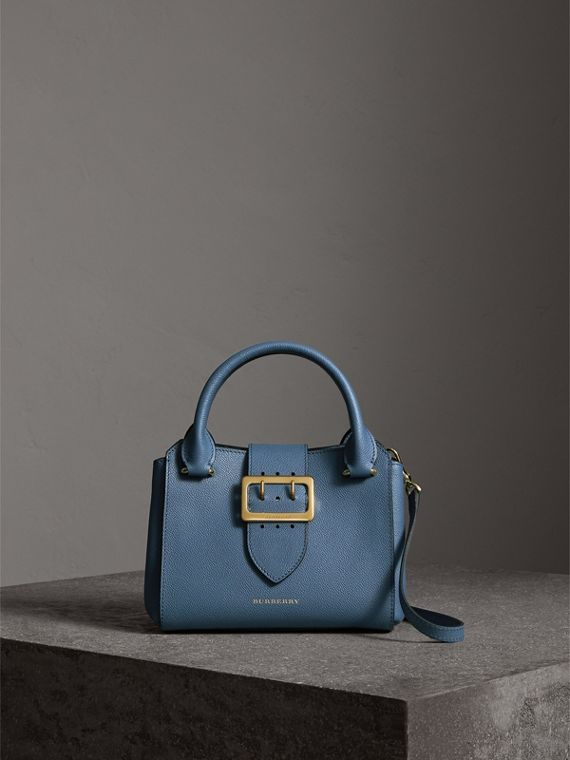 The Small Buckle Tote in Grainy Leather in Steel Blue