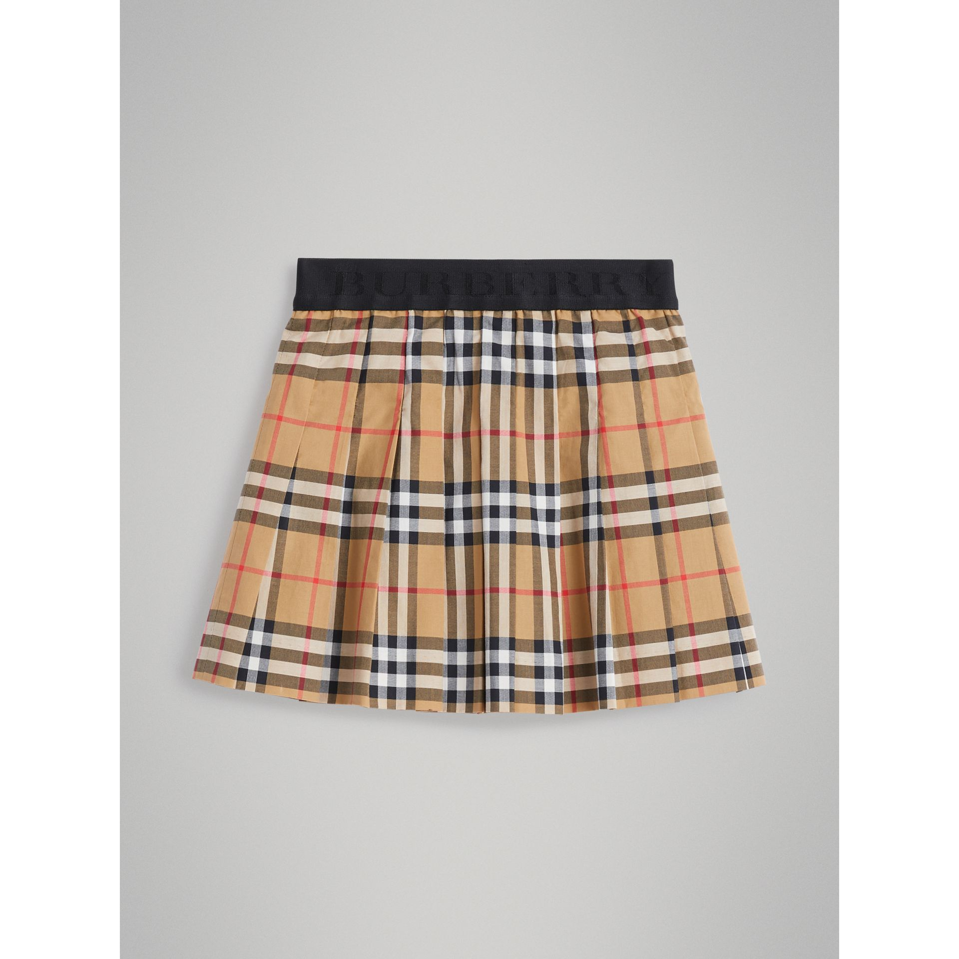 Pleated Vintage Check Cotton Skirt in Antique Yellow - Girl | Burberry - gallery image 0