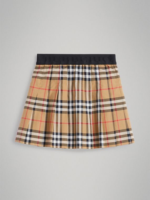 Pleated Vintage Check Cotton Skirt in Antique Yellow