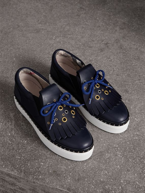 Kiltie Fringe Leather Trainers in Navy