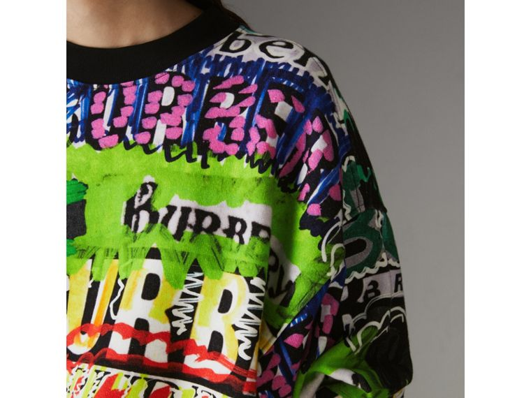Graffiti Logo Cotton Jersey Sweatshirt in Multicolour - Women | Burberry United Kingdom - cell image 1