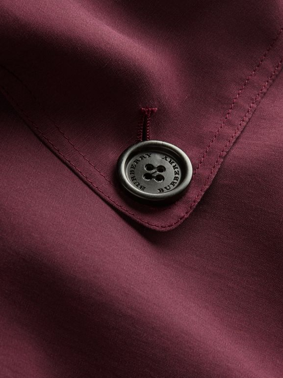 Oversize Silk Trench Coat with Puff Sleeves in Burgundy - Women | Burberry - cell image 1