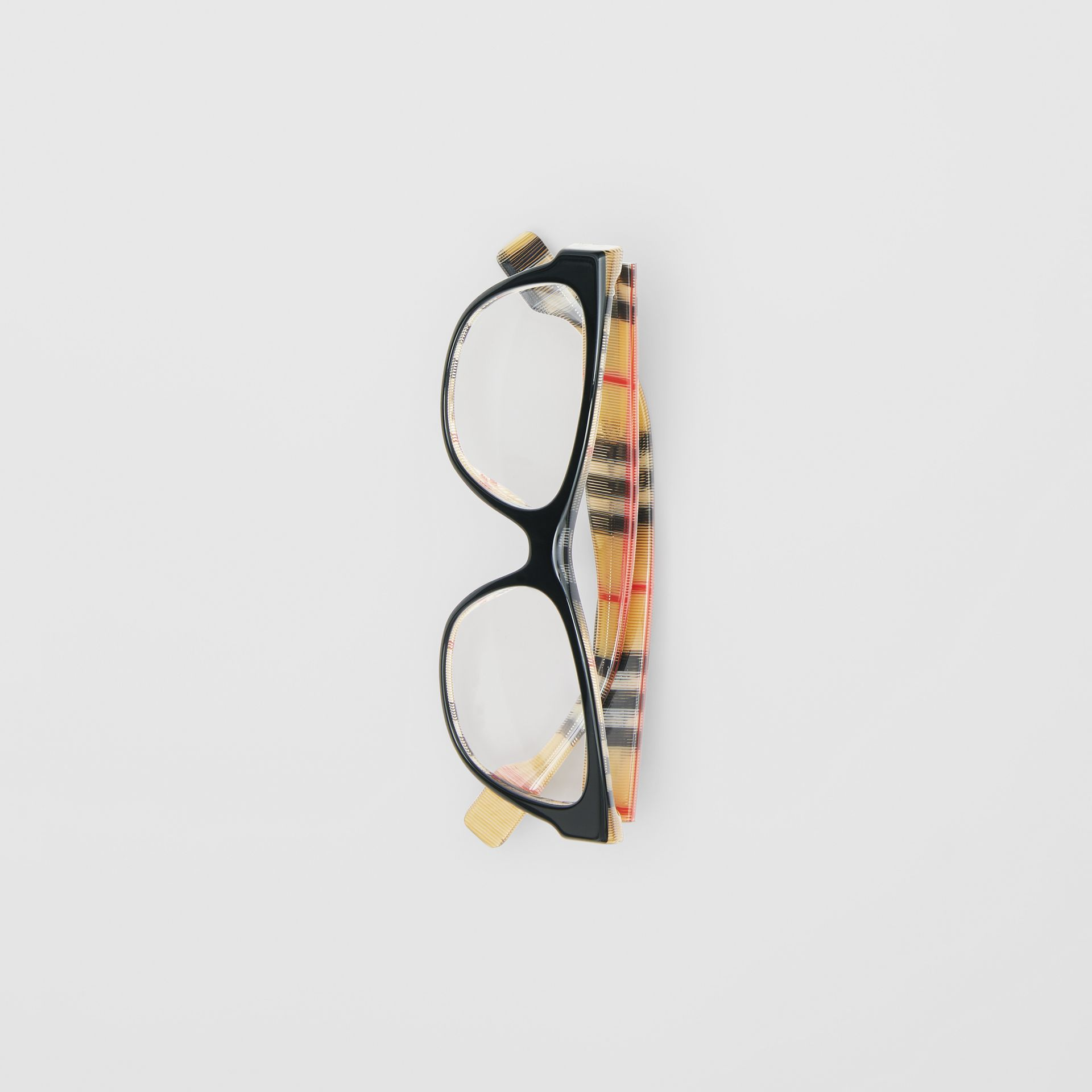 Vintage Check Detail Square Optical Frames in Black/beige - Women | Burberry Canada - gallery image 3