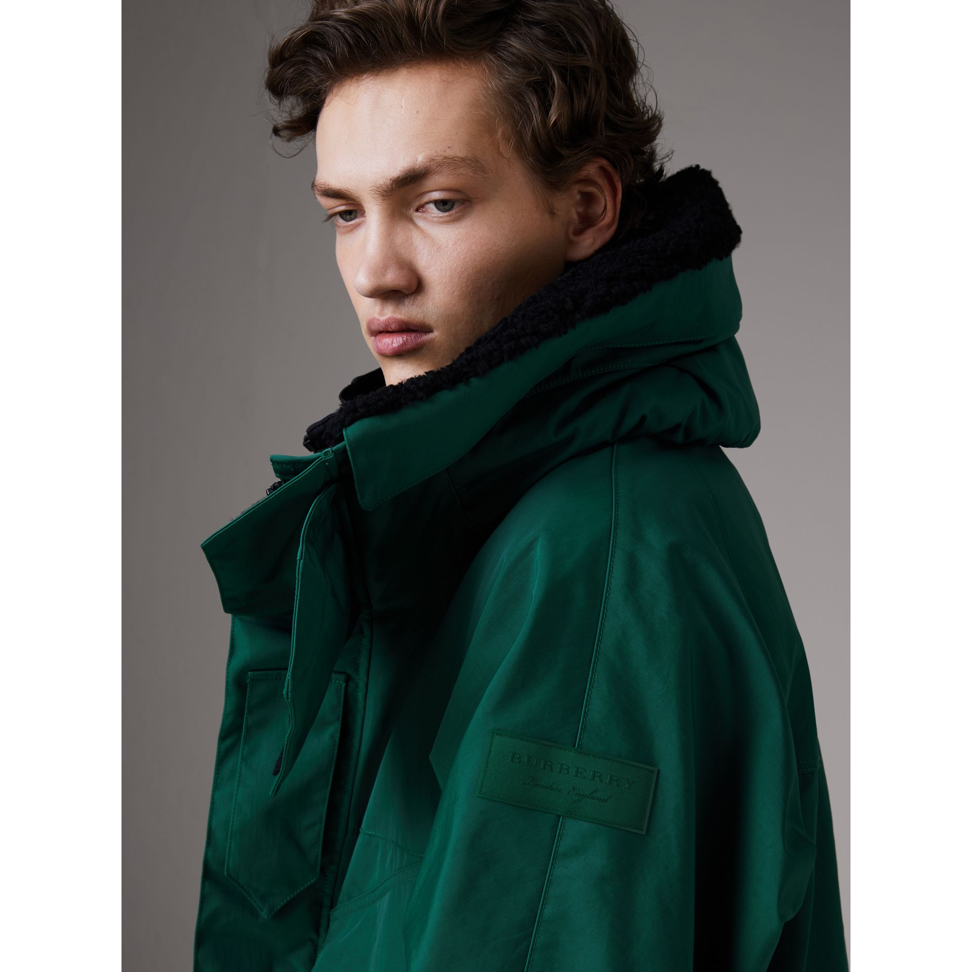Detachable Shearling Collar Modular Jacket with Warmer in Sea Green - Men | Burberry - gallery image 6