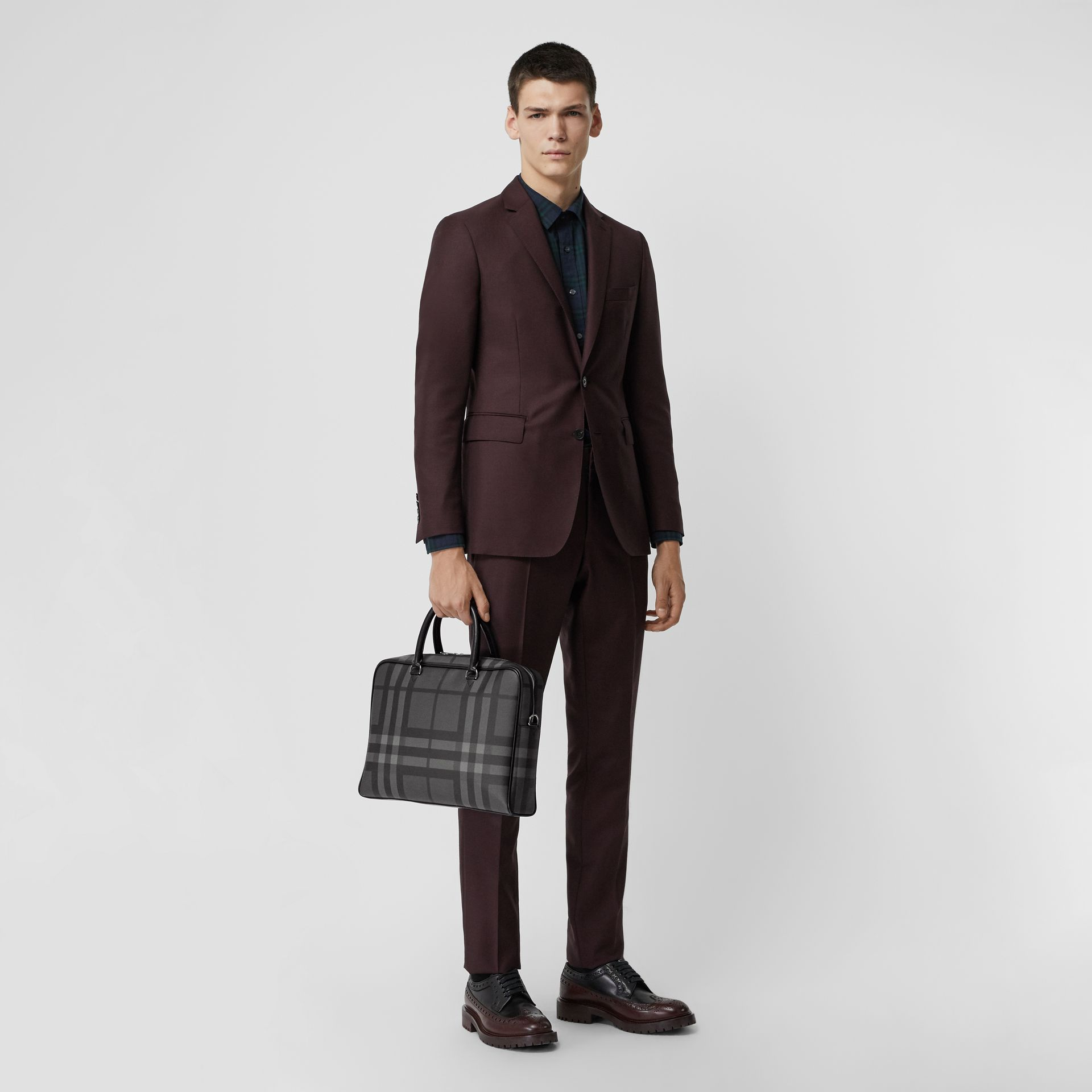 Large London Check Briefcase in Charcoal/black - Men | Burberry Australia - gallery image 2