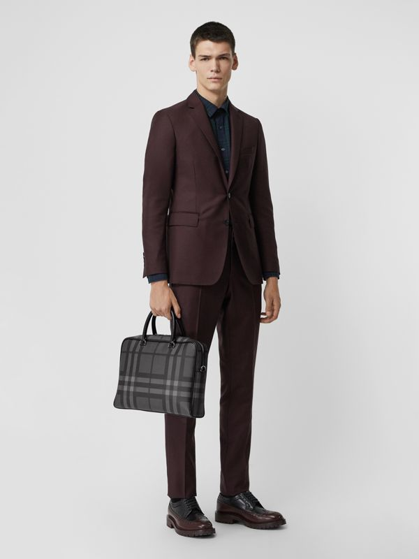 Large London Check Briefcase in Charcoal/black - Men | Burberry Australia - cell image 2