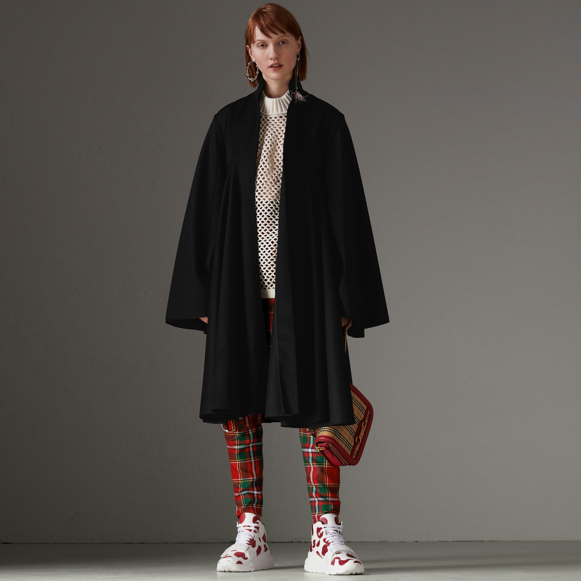 Modern Stewart Royal Tartan Punk Trousers in Bright Red - Women | Burberry - gallery image 0