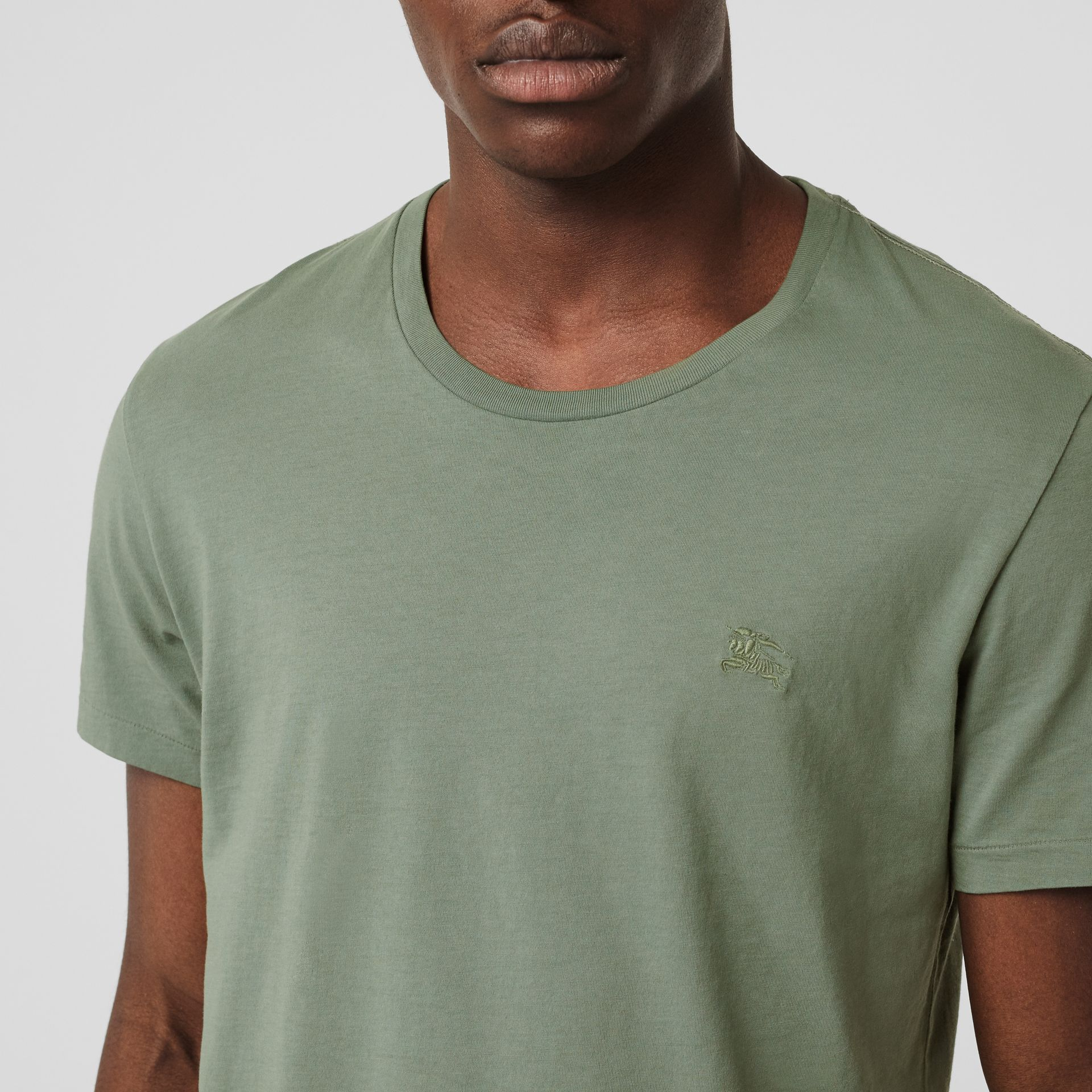 Cotton T-shirt in Clay Green - Men | Burberry - gallery image 1