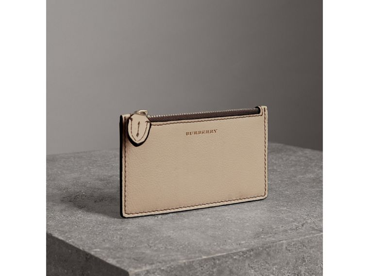 Two-tone Leather Card Case in Limestone | Burberry - cell image 4