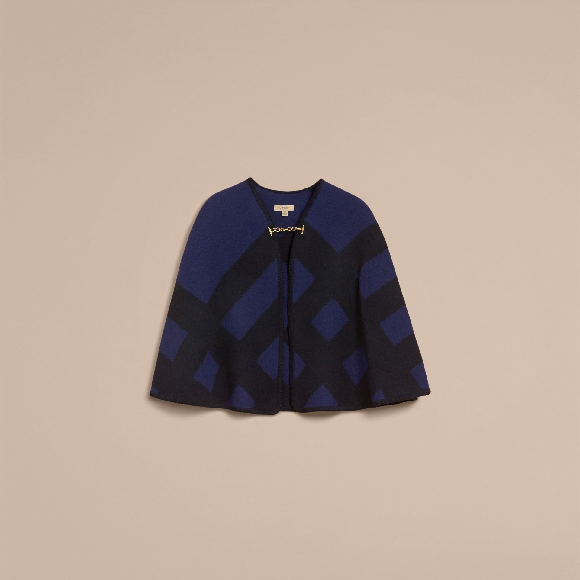 Check Wool Cashmere Blanket Cape in Navy - Women | Burberry - gallery image 4