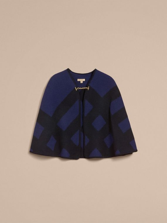 Check Wool Cashmere Blanket Cape in Navy - Women | Burberry Hong Kong - cell image 3