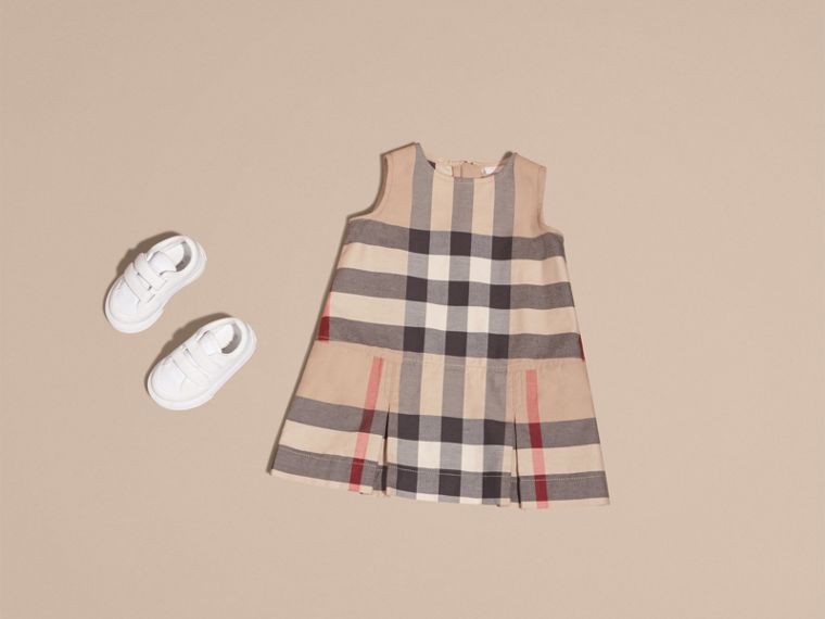 Washed Check Cotton Dress in New Classic | Burberry - cell image 4