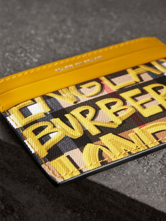 Graffiti Print Vintage Check Leather Card Case in Yellow | Burberry - cell image 1