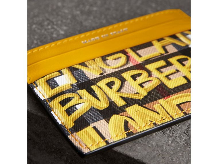 Graffiti Print Vintage Check Leather Card Case in Yellow | Burberry Singapore - cell image 1