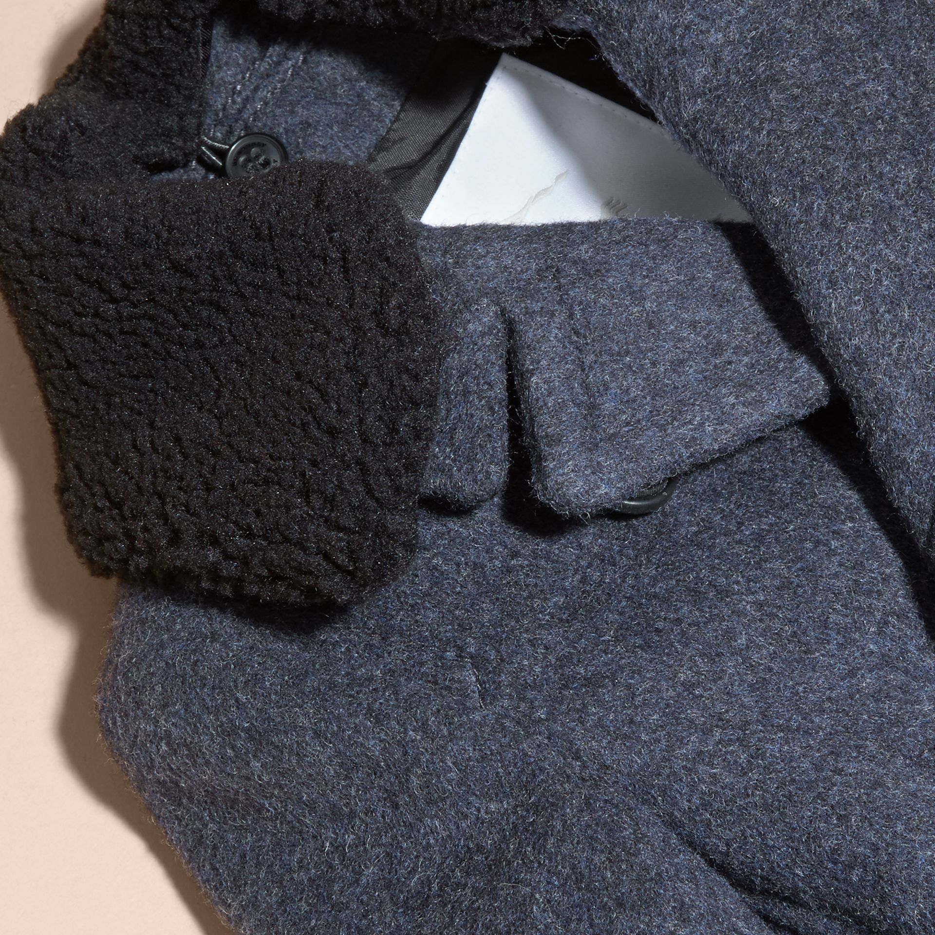 Airforce blue Technical Wool Coat with Detachable Textured Collar - gallery image 2