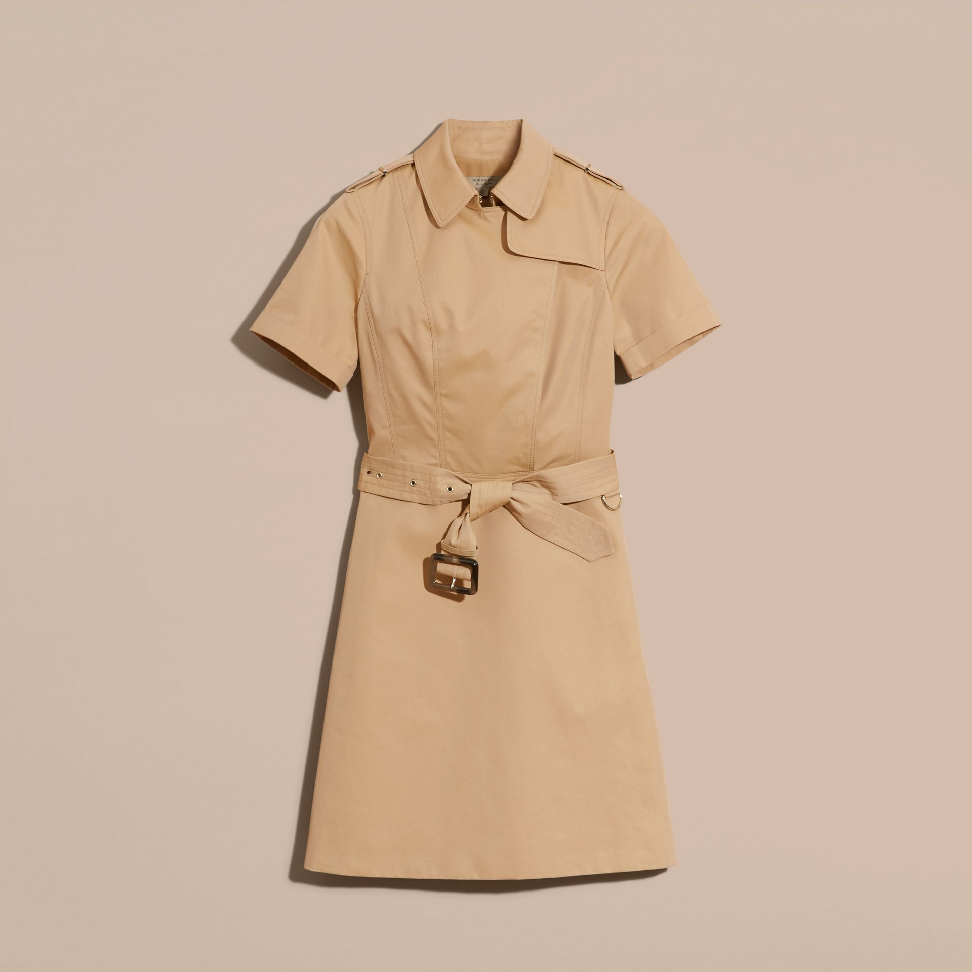 Honey Short-sleeved Cotton Gabardine Trench Dress Honey - gallery image 4