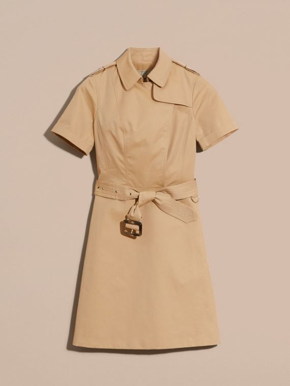 Honey Short-sleeved Cotton Gabardine Trench Dress Honey - cell image 3