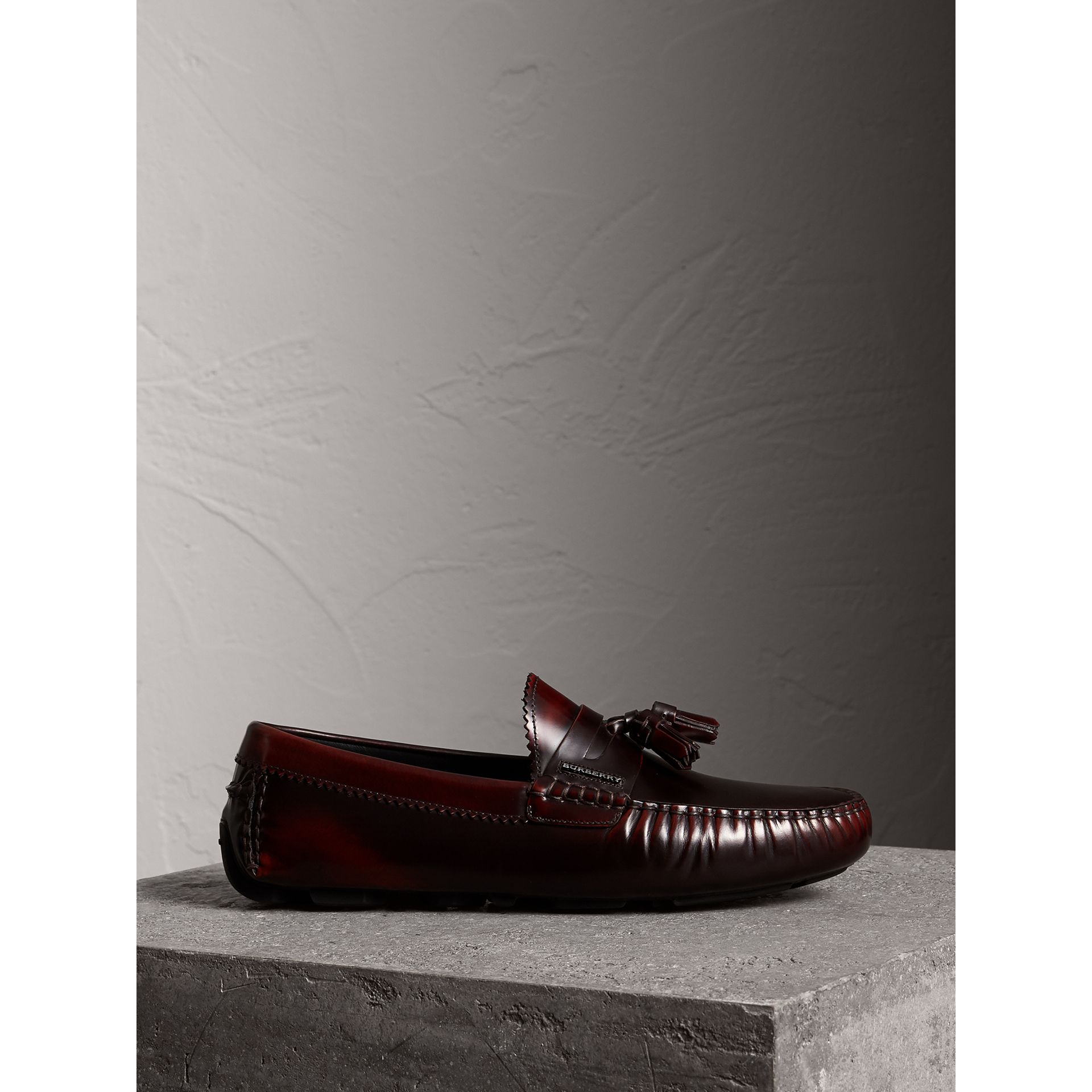 Tasselled Polished Leather Loafers in Bordeaux - Men | Burberry - gallery image 4