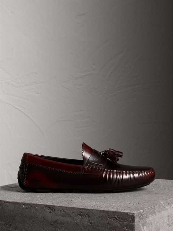 Tasselled Polished Leather Loafers in Bordeaux - Men | Burberry - cell image 3