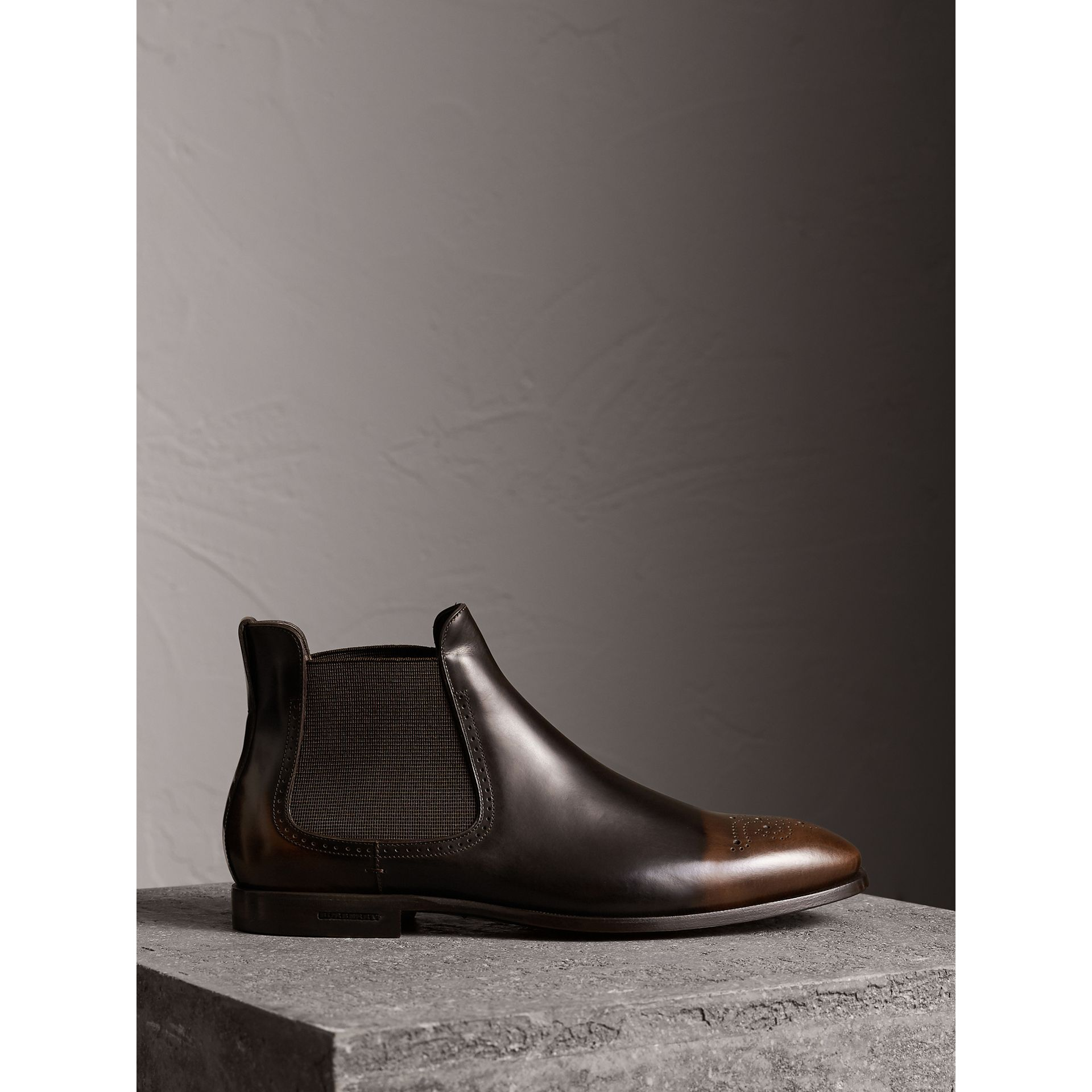 Perforated Detail Leather Chelsea Boots in Chocolate Brown - Men | Burberry - gallery image 1