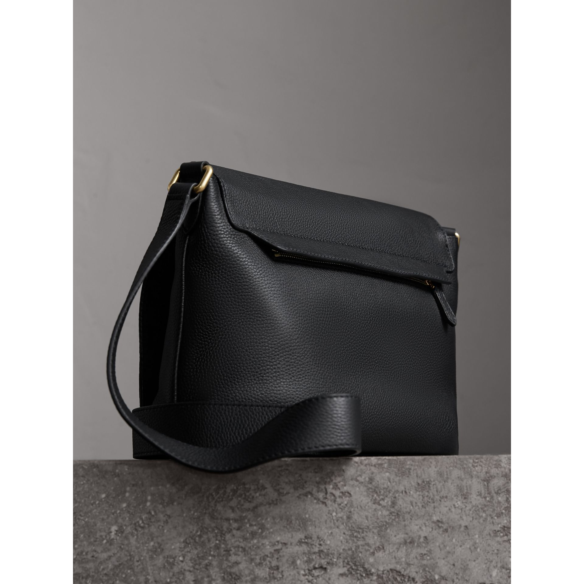 Medium Embossed Leather Messenger Bag in Black - Women | Burberry - gallery image 3