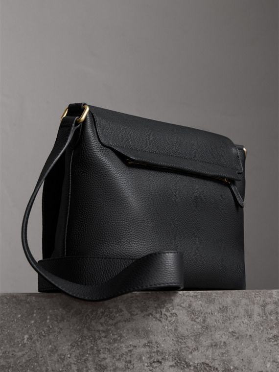 Medium Embossed Leather Messenger Bag in Black - Women | Burberry - cell image 3