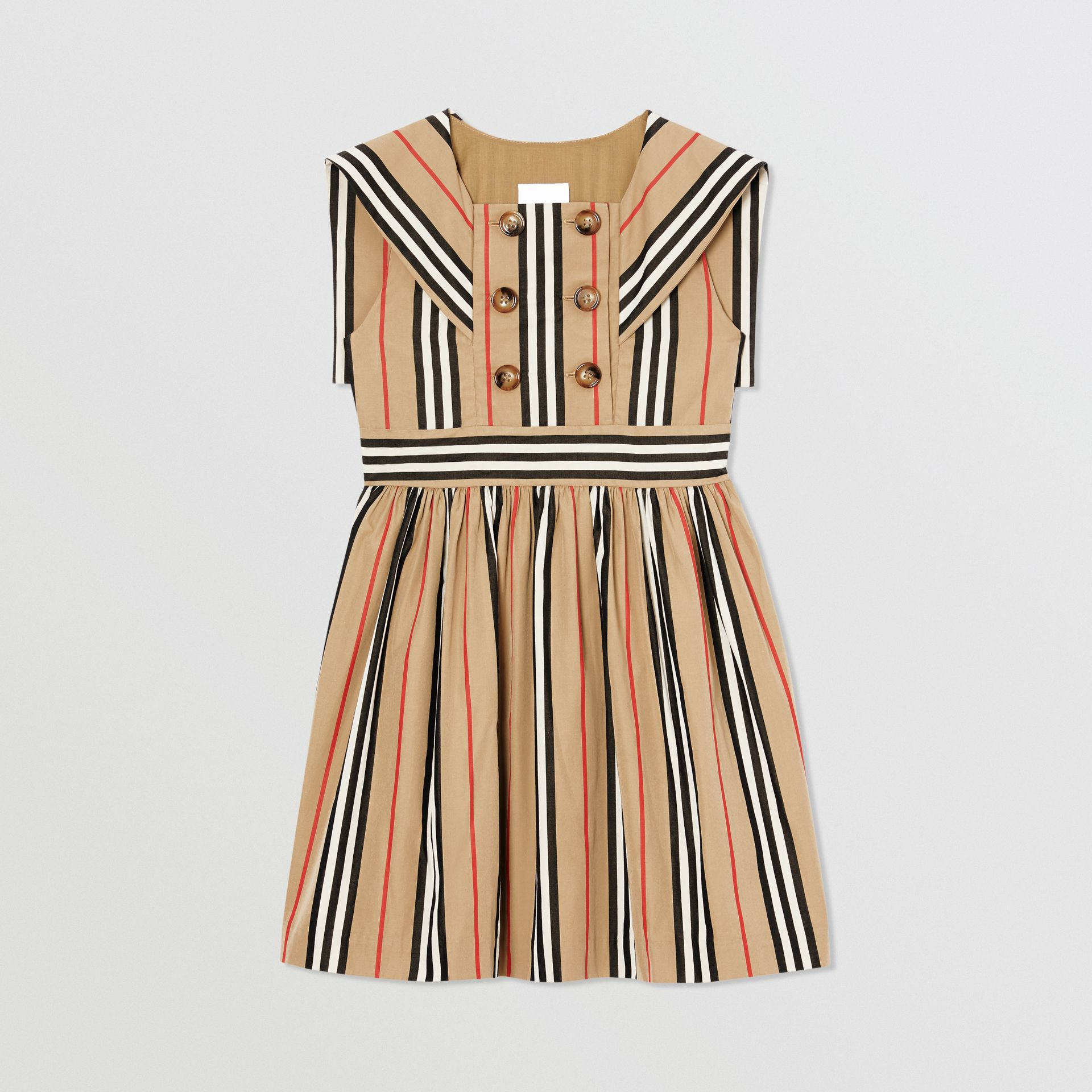 Icon Stripe Cotton Poplin Sailor Dress in Archive Beige | Burberry - gallery image 0