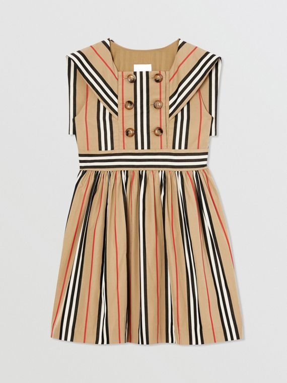 Icon Stripe Cotton Poplin Sailor Dress in Archive Beige
