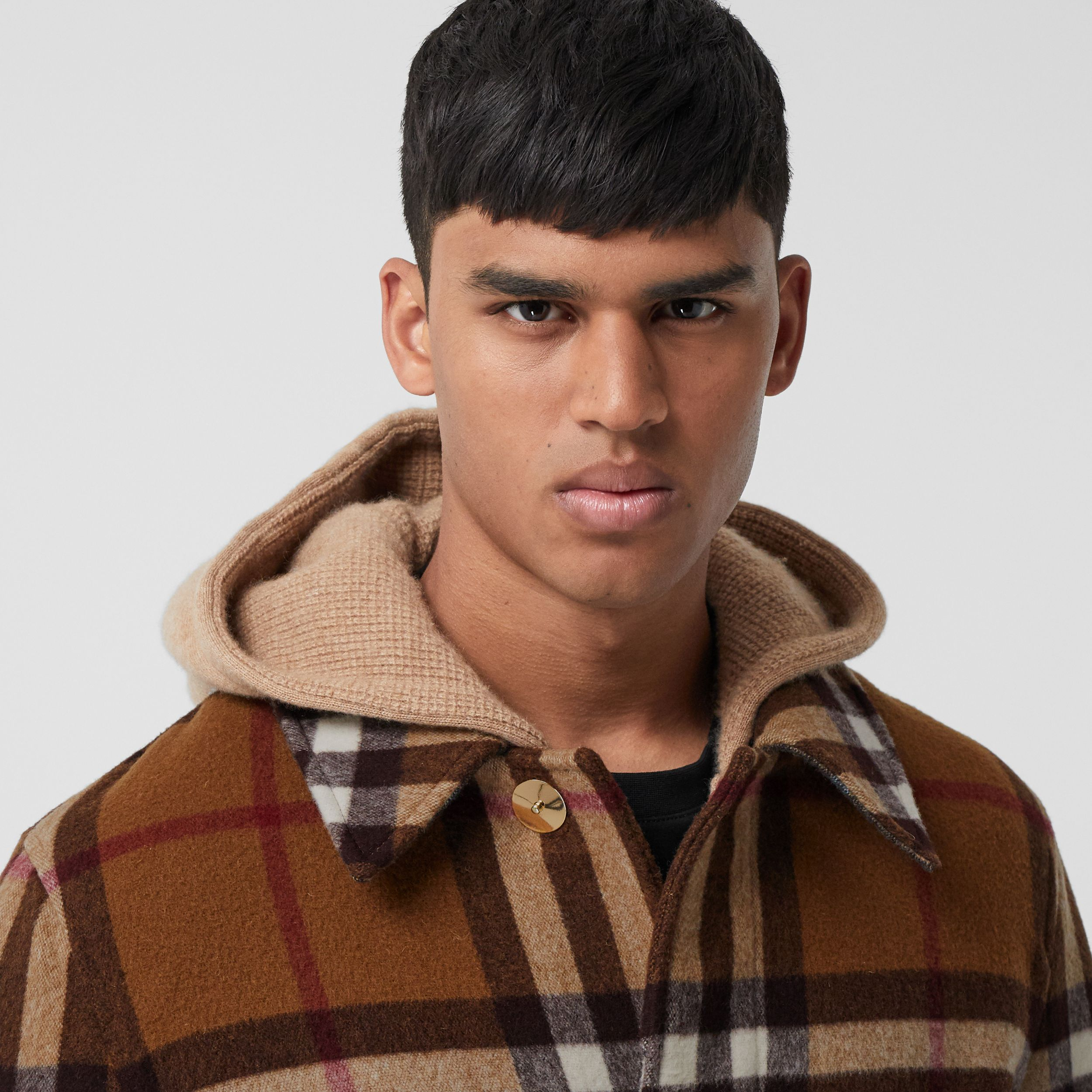 Double-faced Check Wool Car Coat in Dark Birch Brown | Burberry - 2