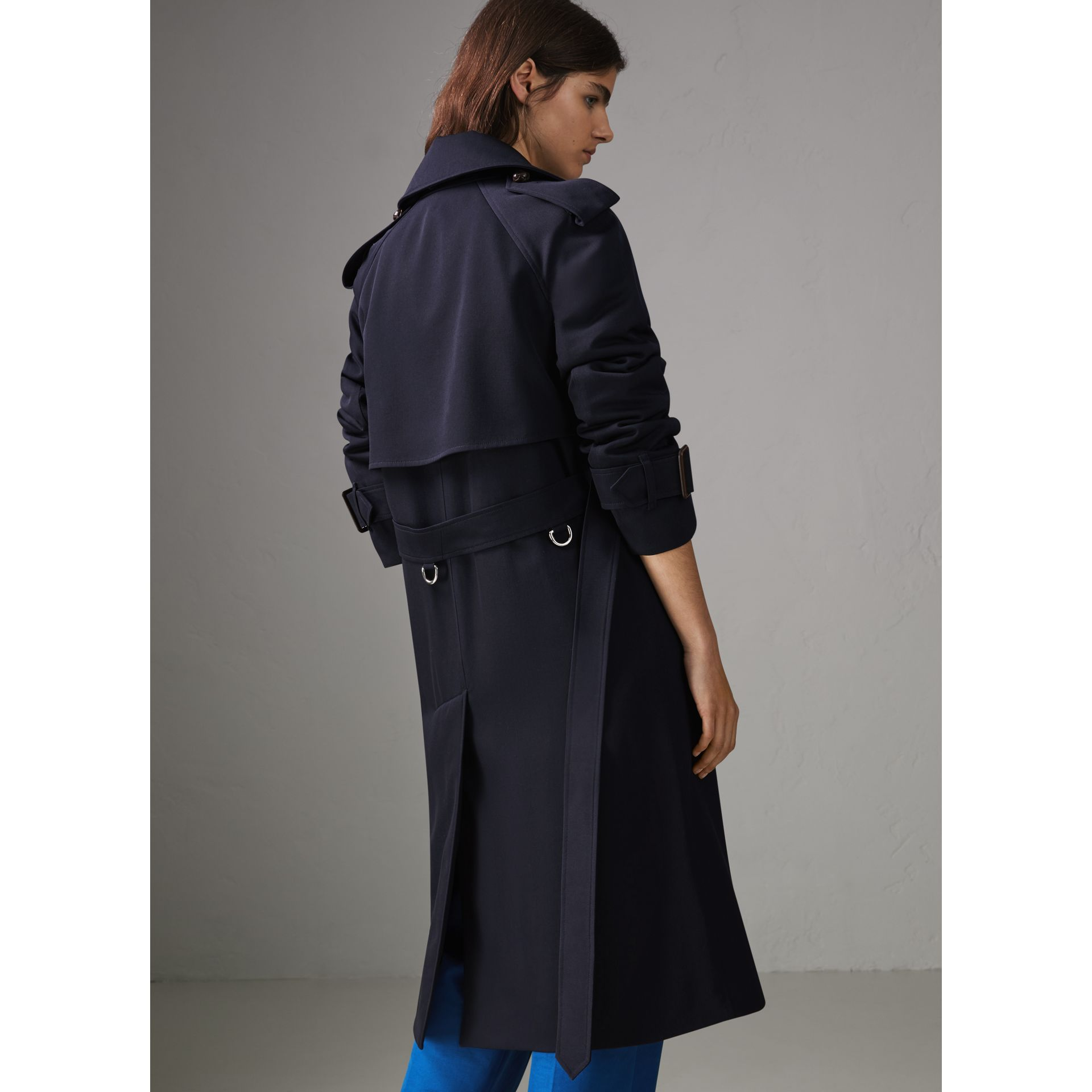 Oversized Lapel Wool Gabardine Trench Coat in Navy - Women | Burberry United Kingdom - gallery image 2